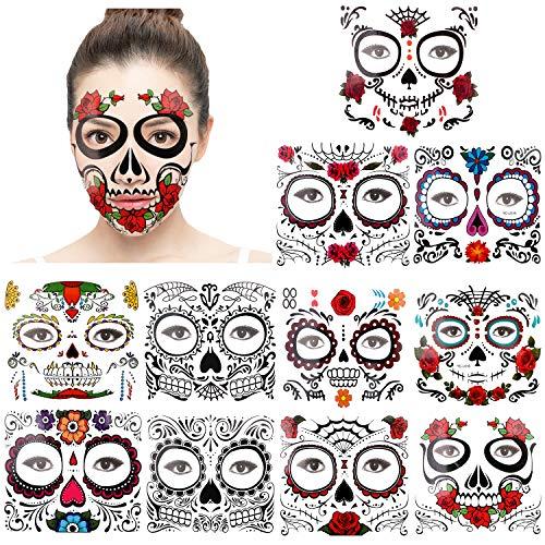 Konsait 11 Blätter Halloween Gesicht Tattoos Tag der Toten Zuckerschädel Floral Schwarz Skelett Web Rote Rosen temporär Tätowierung Klebe Tattoo Aufkleber für männer Frauen Halloween Maskerade