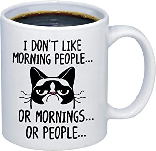 Funny Grumpy Cat Mug - I Don't Like Morning People. Or Mornings. Or People Coffee & Teacup - 11oz Ceramic Internet Meme Cup - Great Unique Gift Idea For Parents, Siblings, Friends, Him or Her