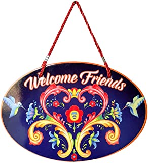 Essence of Europe Gifts E.H.G Welcome Friends with Attractive Blue Rosemaling Motif Welcome 11x8 Ceramic Door Sign by E.H.G.