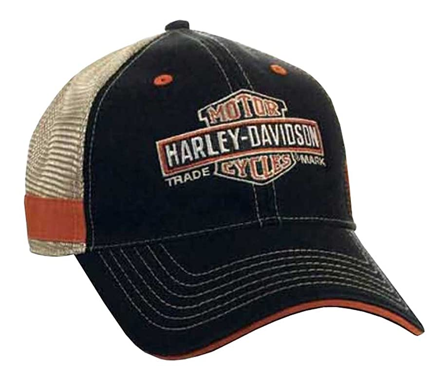 Harley-Davidson Men's Embroidered Long Bar & Shield Mesh Trucker Cap BCC31212 Black
