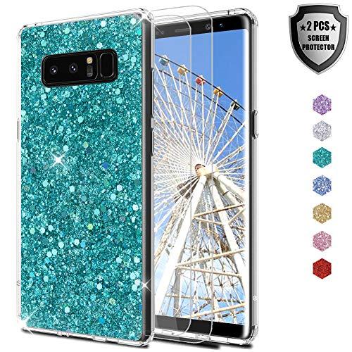 Feyten Funda Galaxy Note 8 con 2-Unidades Cristal Vidrio Templado, Purpurina TPU Silicona Suave con Brillante Protección cáscara para Samsung Galaxy Note 8 (Verde)