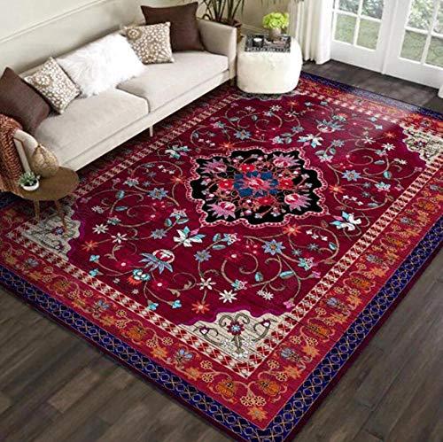 gexingshangdian tapijt Perzische stijl tapijt. Luxueuze rode bloemen print tapijt voor woonkamer slaapkamer decoratie. Conische keuken antislip vloermat.