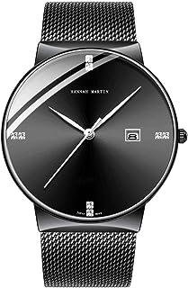 Reloj para Hombre Azul Profundo/Negro Relojes Ultra Finos para Hombres Moda Vestido Impermeable Malla de Acero Inoxidable