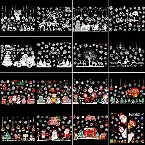PMSMT 2020 Guirnalda de Navidad Pegatina para Ventana Pared Feliz Navidad Decoraciones para el hogar decoración de Navidad Papá Noel Feliz año Nuevo 2021