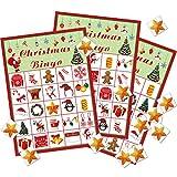 Gejoy Juego de Bingo de Navidad Favores de Juego de Fiesta de Navidad Actividades Navideñas para Suministros de Fiesta de Tema de Navidad de 24 Jugadores (Estilo Conjunto 1)