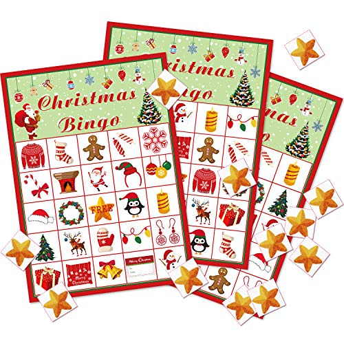 Christmas Bingo Game Christmas Party Games Favors Xmas Gifts Christmas Activities for 24 Players Christmas Theme Party Supplies (Style Set 1)