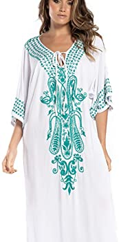 Hand Painted Kaftan Santorini Caftan Kaftan Dress White Tunic Boho Tunic Beach Cover Up Resort Wear Summer Vacation Travel Size S M