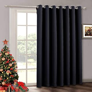 RYB HOME Extra Wide Curtain 100 inch - Temporary Portable Sliding Glass Door Curtains Heavy Duty, Light Block Insulated Large Window Decor for Bedroom Dining Office Sunroom Backdrop, 100 x 84, Black