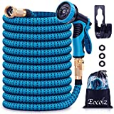 Eocolz Garden Hose 25ft +5ft Expandable Water Hose with 9 Function Spray Nozzle Leakproof Lightweight No-Kink Durable Flexible Hose with 3/4 Solid Brass Fittings Extra Strength for Watering Washing