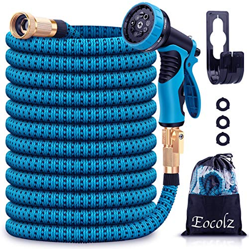 """Eocolz Garden Hose 75ft Expandable Water Hose Lightweight Flexible Hose Durable Leakproof No-Kink with 3/4"""" Solid Fittings, Triple Layer Latex Core, Extra Strength Fabric for Gardening Lawn Pet Car"""