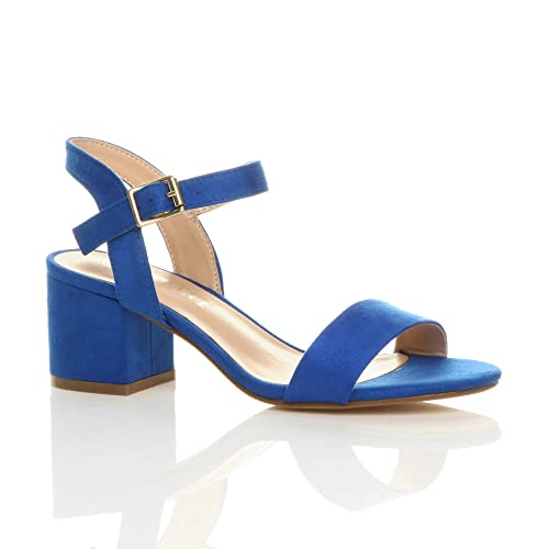 320a2a5677a Womens Ladies mid Low Block Heel peep Toe Ankle Strap Strappy Party Sandals  Size