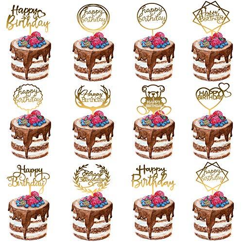 Auidy_6TXD 12 Stück Acryl Cake Topper Set Gold Tortenstecker Geburtstag Glitter Topper Kuchendekoration
