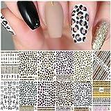 EBANKU 12 Hojas Pegatinas de Uñas Leopardo,Arte de Uñas Leopardo Pegatinas Autoadhesiva Calcomanias Uñas Impresión Animal Nail Art Stickers Decoración