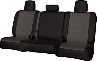 Rear SEAT: ShearComfort Custom Waterproof Cordura Seat Covers for Ford F150 (2015-2019) in Black w/Gray for 60/40 Split Back and Bottom w/ 3 Adjustable Headrests (Super Crew)