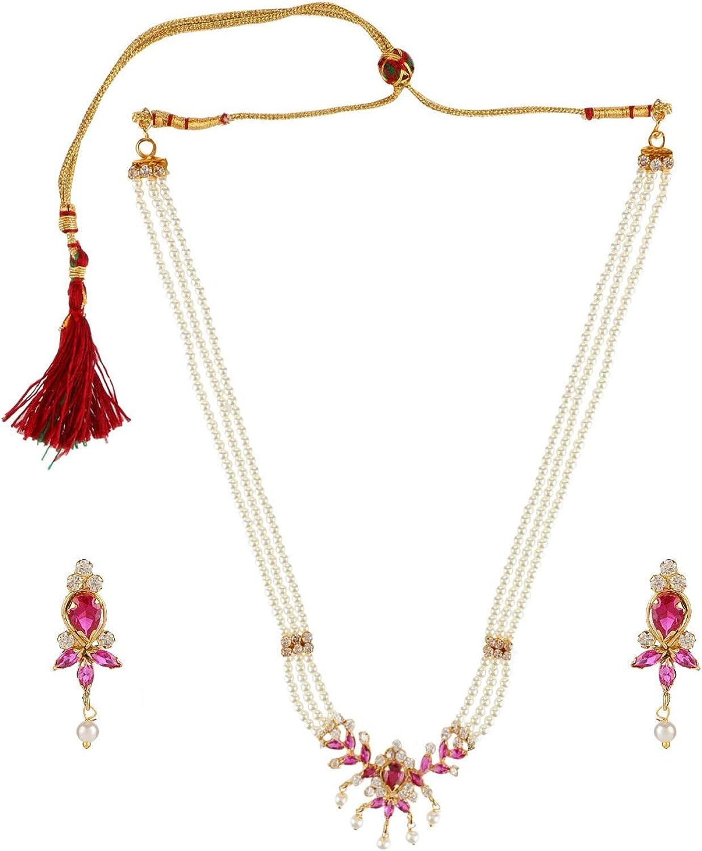Efulgenz Fashion Jewelry Gold Plated CZ Faux Pearl Bridal Wedding Pendant Strand Necklace Earings Set