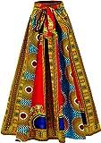 Shenbolen Women Dashiki Maxi Long Skirts African Skirt Elastic Waist One Size (One Size, B)