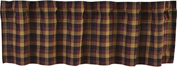 VHC Brands Primitive Kitchen Window Curtains-Heritage Farms Valance, 16x72, Deep Burgundy Red