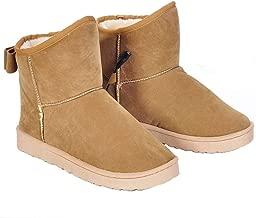 Botas calefactoras con calentamiento USB con zapatos Bowknot Soft Plush Warm para clima frío, caqui 11 pulgadas