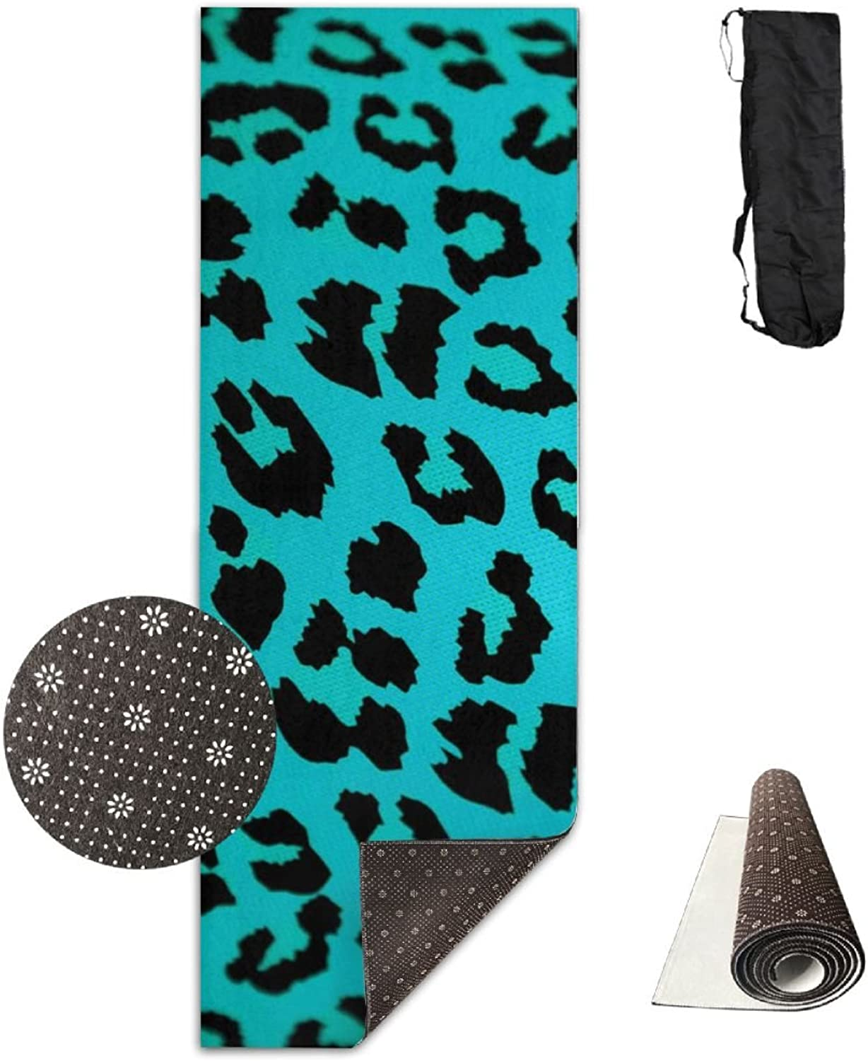 BINGZHAO Green Leopard Print Animal Exercise Yoga Mat for Pilates,Gym,Fitness, Travel & Hiking
