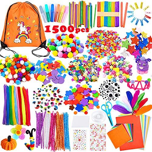 Yetech Creativo Pipe Cleaners Crafts Set,1500+ PCS Kit Manualidades niños,Pompoms con Wiggle Eyes , Craft Sticks,Pompones, Gemas Adhesivas,Juego Creativo Regalo para Craft DIY Art Supplies