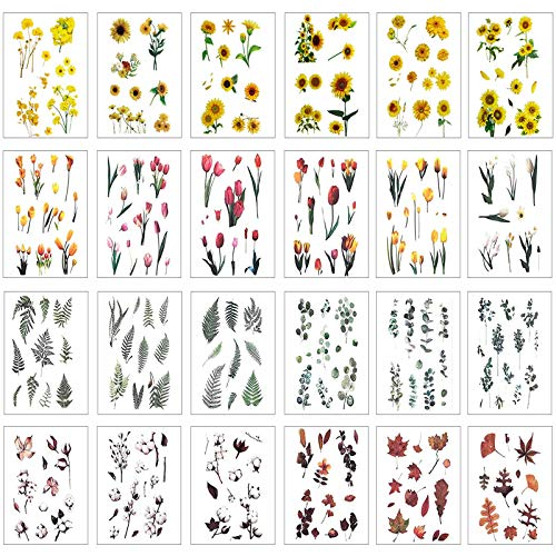 24 Sheets Scrapbooking Stickers, Johiux Different Pattern Stickers Flowers Vintage Stickers Plant Stickers for Scrapbook Diary, Photo Album etc.