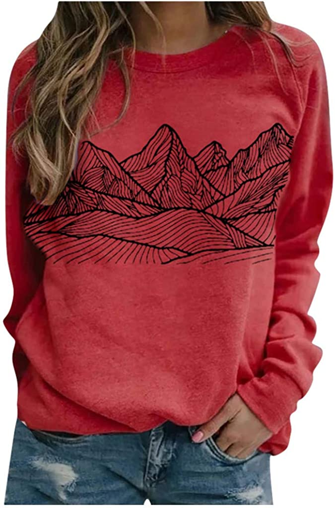 Womens Blouse Top,Womens Casual Long Sleeve Feather Graphic Tee Tops for Leggings Fashion Blouse Shirts Tunic