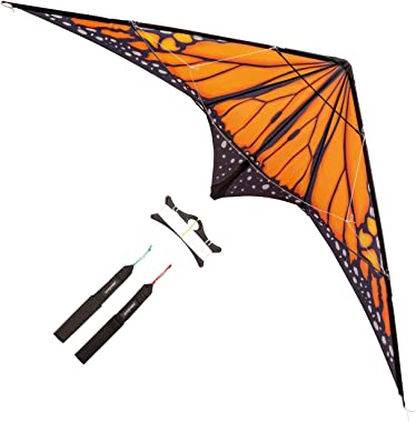 paleonEarth Dual-line Stunt Kite with 90 Inch Wingspan and Monarch-Inspired Printed Sail