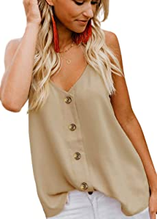 Poppin Kicks Women's Sexy V-Neck Cami Strappy Button-Down Tank Top Adjustable Spaghetti Straps Casual Shirts