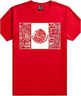 CaliDesign Red Bandana Mexico Flag T Shirt Mexican Aztec Chicano Cholo Califas