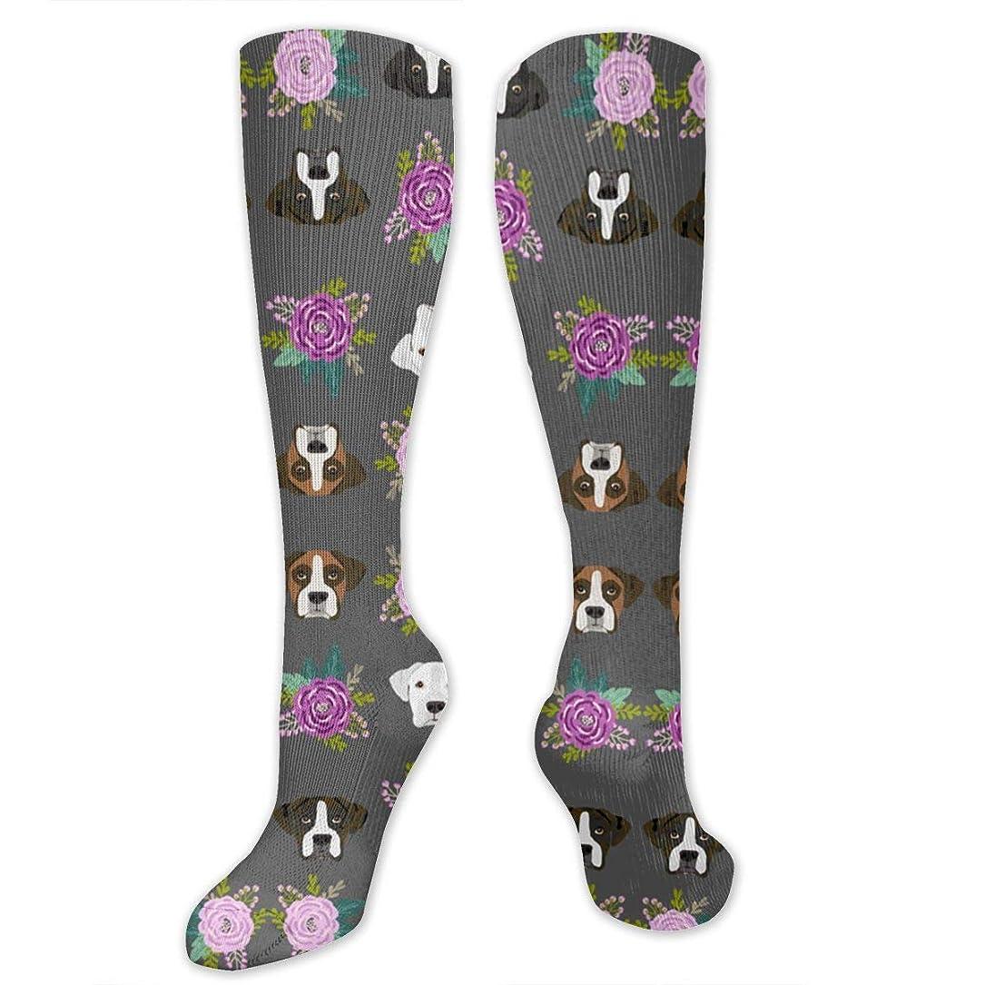 省略するどれか不名誉な靴下,ストッキング,野生のジョーカー,実際,秋の本質,冬必須,サマーウェア&RBXAA Women's Winter Cotton Long Tube Socks Knee High Graduated Compression Socks Boxer Dog Heads Design Charcoal Flowers Socks