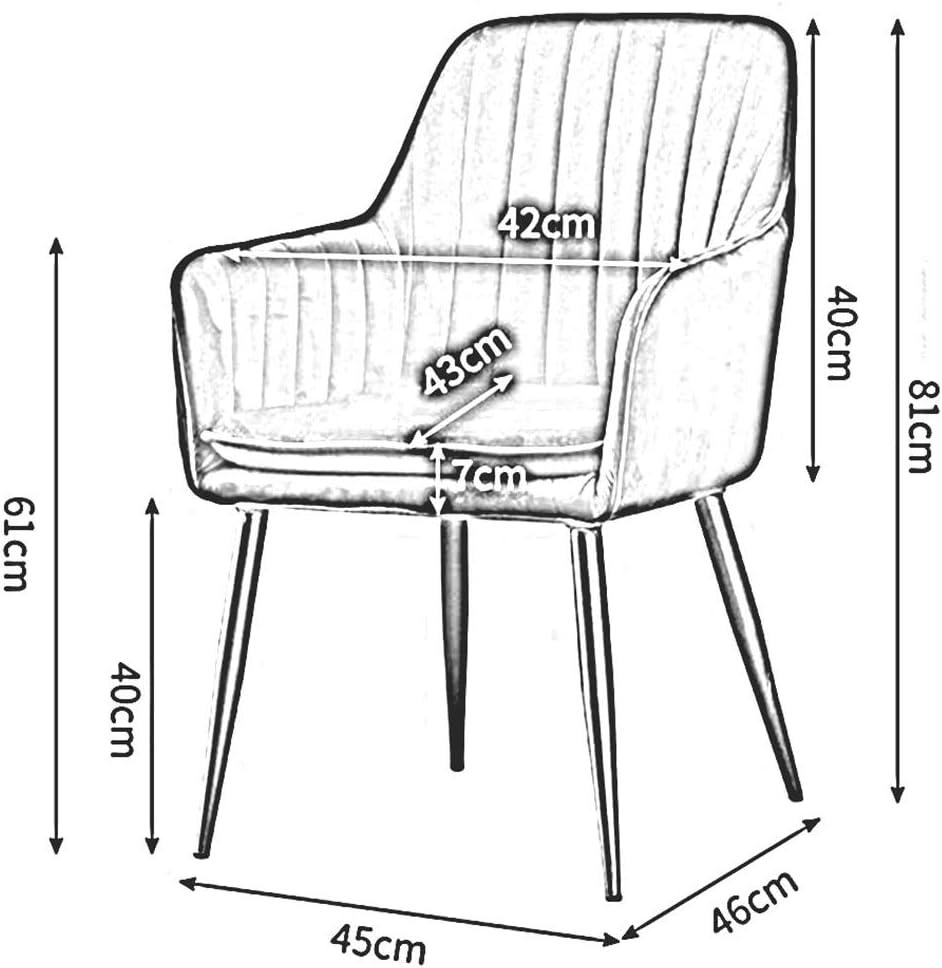 DALL Chaise De Salle À Manger Rembourrés Table Chaise Dossier De Loisirs Jambes en Métal Les Fauteuils Salon Bureau Restaurant Meuble Moderne (Color : Purple) Gray 1