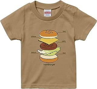 [Chara Park] ハンバーガー プリントTシャツ キッズ 100 110 120 グレー サンドカーキ バニラホワイト