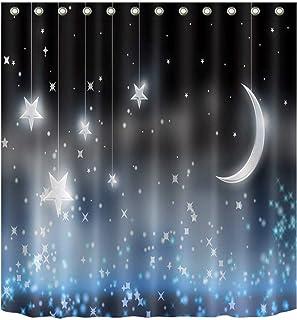 zhanghui2018 Sparkle Moon Stars Cortina de Ducha Bathoom Tejido Duradero Mildew Baño Colgante Creativo con 12 Ganchos 180X...