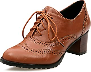 Womens PU Leather Oxfords Wingtip Lace up Mid Heel Pumps Shoes …