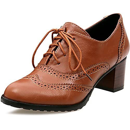 01028f77b5 ODEMA Women Brogue Hollow Out Lace-Up High Heel Shoes