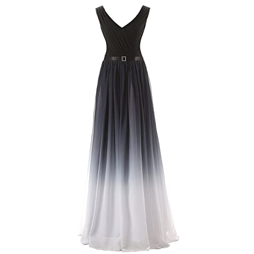 423e1fa022 Belle House Women s Gradient Color Chiffon Formal Evening Dress Long Prom  Gown