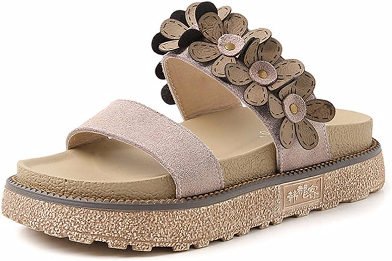 Mubeuo Women's Flowers Fashion Leather Sandles Platform Sandals