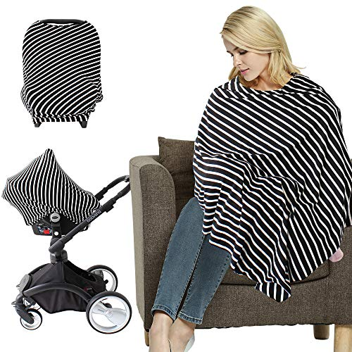 LifeTree Nursing Cover Poncho | Multi-Use Stretchy Breastfeeding Cover | Shopping Cart Cover | Maternity Top | Baby Car Seat Cover Canopy
