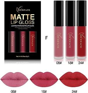 Coosa 3PCS of 3 Colors Madly MATTE Lipstick Non-stick Cup Waterproof Lipgloss (Set F)