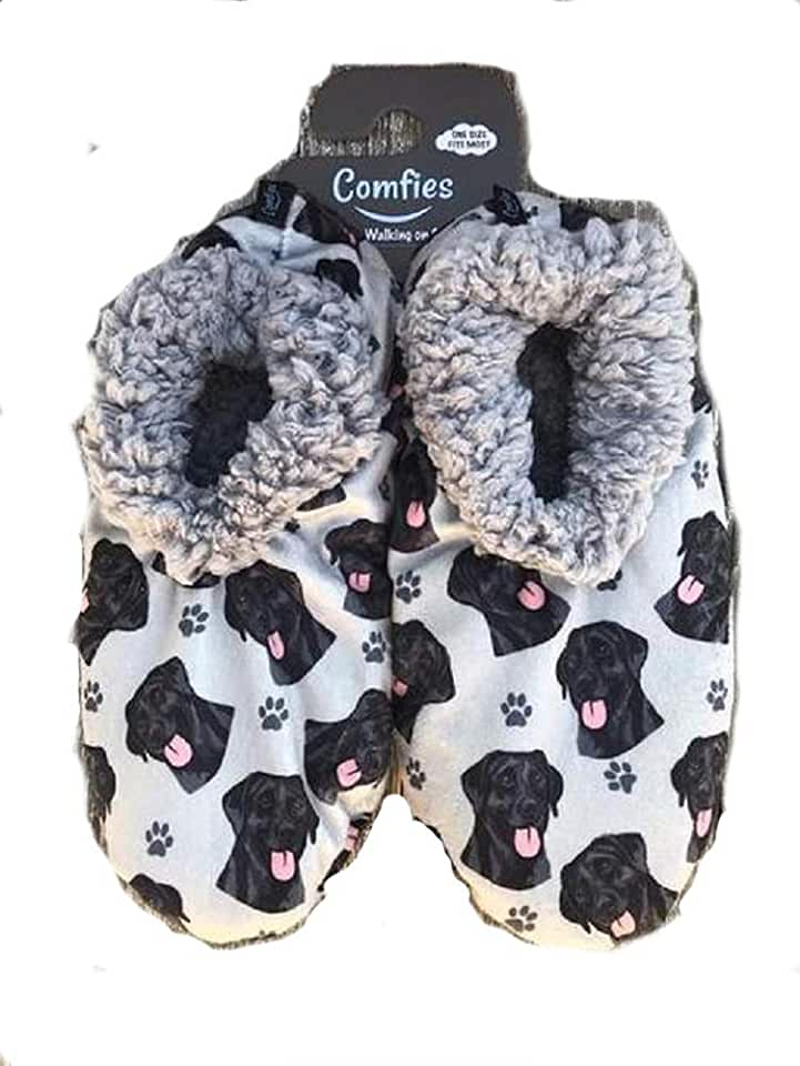 Black Lab Super Soft Women's Slippers - One Size Fits Most - Cozy House Slippers - Non Skid Bottom - perfect for Black Lab gifts