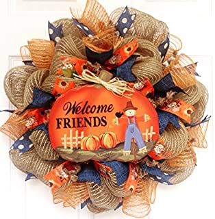 Welcome Friends Autumn or Harvest Deco Mesh Wreath 20 Inch Wreath