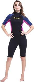 GoldFin Shorty Wetsuit Women Men, 3mm Neoprene Thermal Swimsuit Back Zip for Scuba Diving Surfing Snorkeling Swimming, DW004