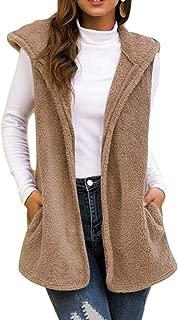 Macondoo Women Winter Hoody Waistcoat Fleece Quilted Open Front Vest with Pocket