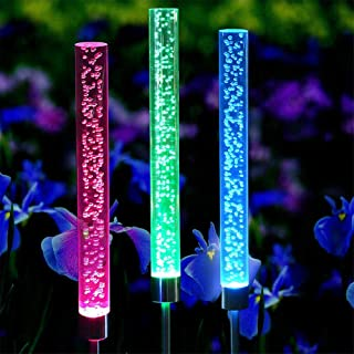 AKDSteel 2Pcs LED Solor Powered 7 Colors Change Outdoor Waterproof Acrylic Bubble Tube Lawn Lamp