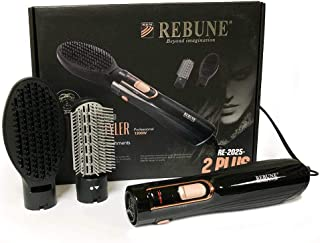REBUNE RE-2025-2_1 Hair Styler with 2 Attachments, 1200 Watt, BLACK, MEDIUM
