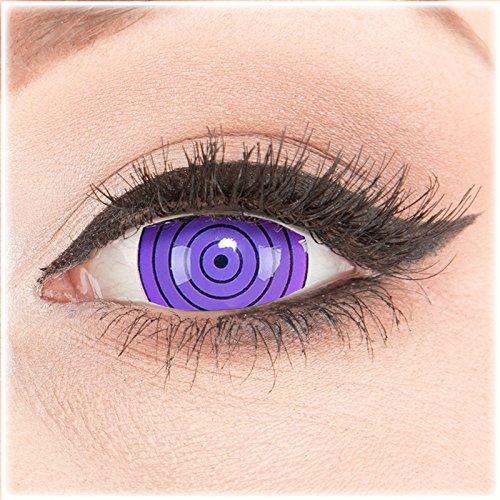 Farbige Kontaktlinsen zu Fasching Karneval Halloween 1 Paar Crazy Fun Mini Scleara violette'Violet Rinnegan' 17 mm in Topqualität von'Glamlens' ohne Stärke