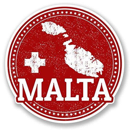 2 x 10cm/100mm Malta Vinyl SELF ADHESIVE STICKER Decal Laptop Travel Luggage Car Bike Sign Fun #4285