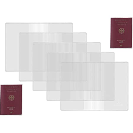 5 Fundas de Pasaporte, Protector de Pasaporte plástico Transparente, Soportes de Pasaporte Protector Esmerilado Transparente para pasaportes tamaño estándar Fundas para Tarjetas Organizador de Viaje