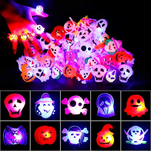 Decorlife Halloween LED Light Up Rings Glow in The Dark, Halloween Party Favors for Kids, Flash Finger Lights, Pumpkin, Ghost, Eyeball, Spider - 50 PCS