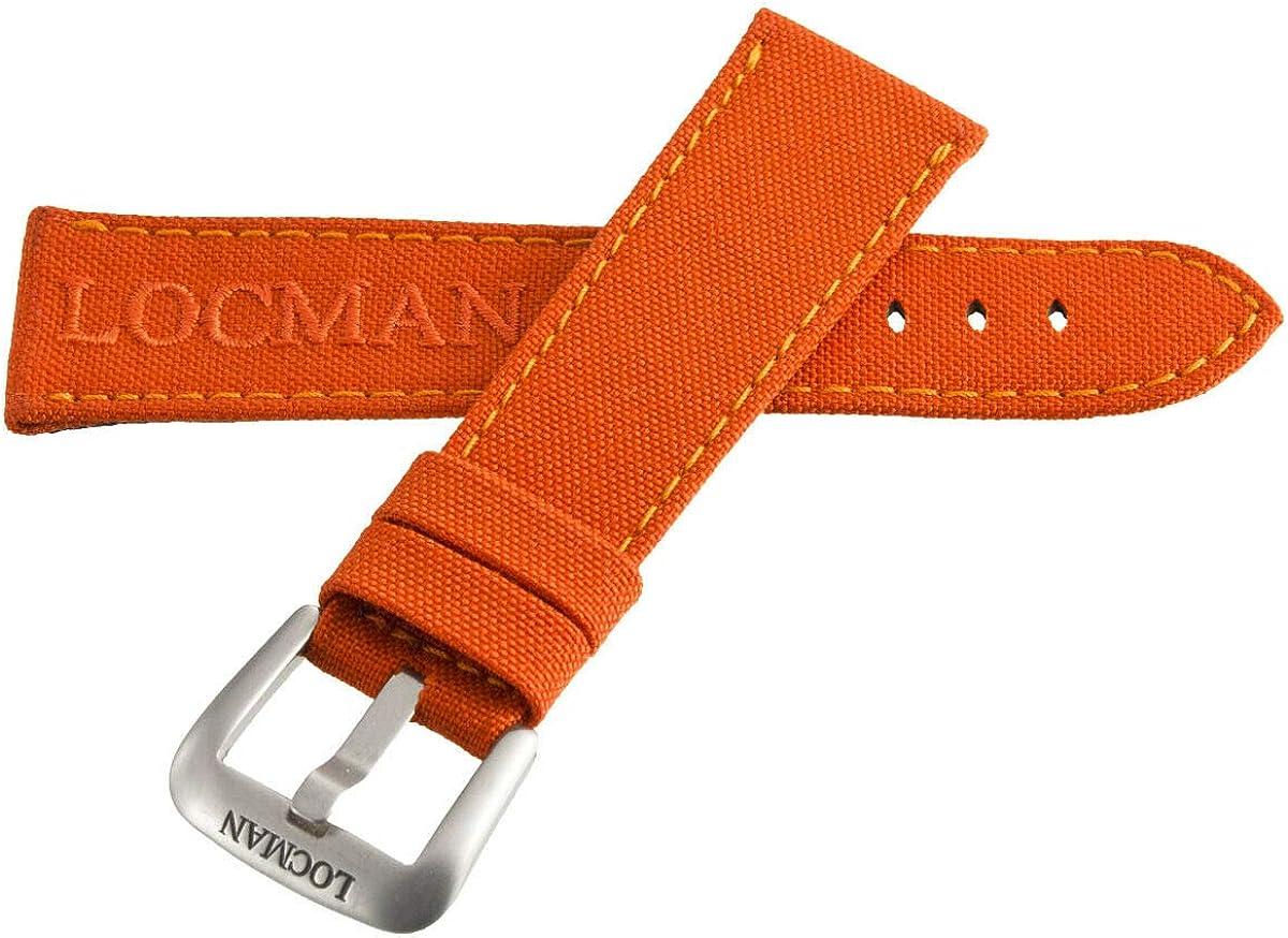 Locman Men's Spring new work 25mm Orange Fabric Watch Silver Band with Strap Detroit Mall Buc